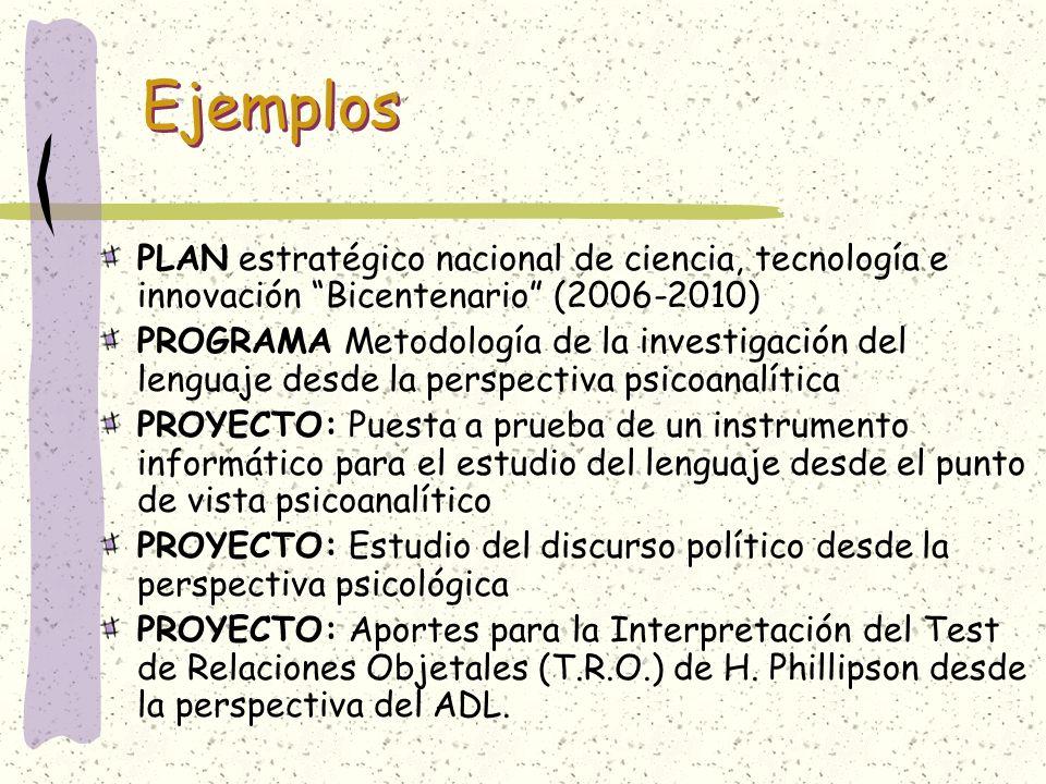 Ejemplos PLAN estratégico nacional de ciencia, tecnología e innovación Bicentenario (2006-2010)