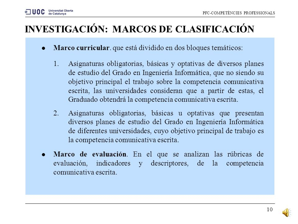 INVESTIGACIÓN: MARCOS DE CLASIFICACIÓN