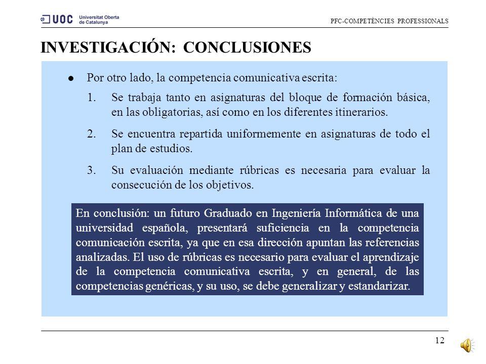 INVESTIGACIÓN: CONCLUSIONES