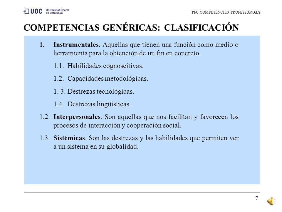 COMPETENCIAS GENÉRICAS: CLASIFICACIÓN