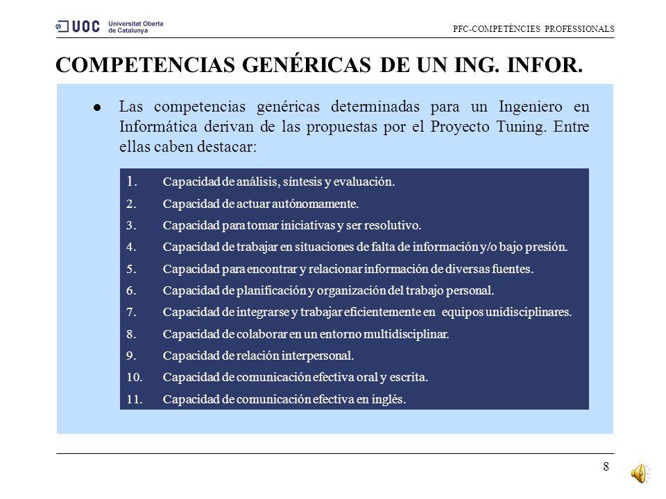COMPETENCIAS GENÉRICAS DE UN ING. INFOR.