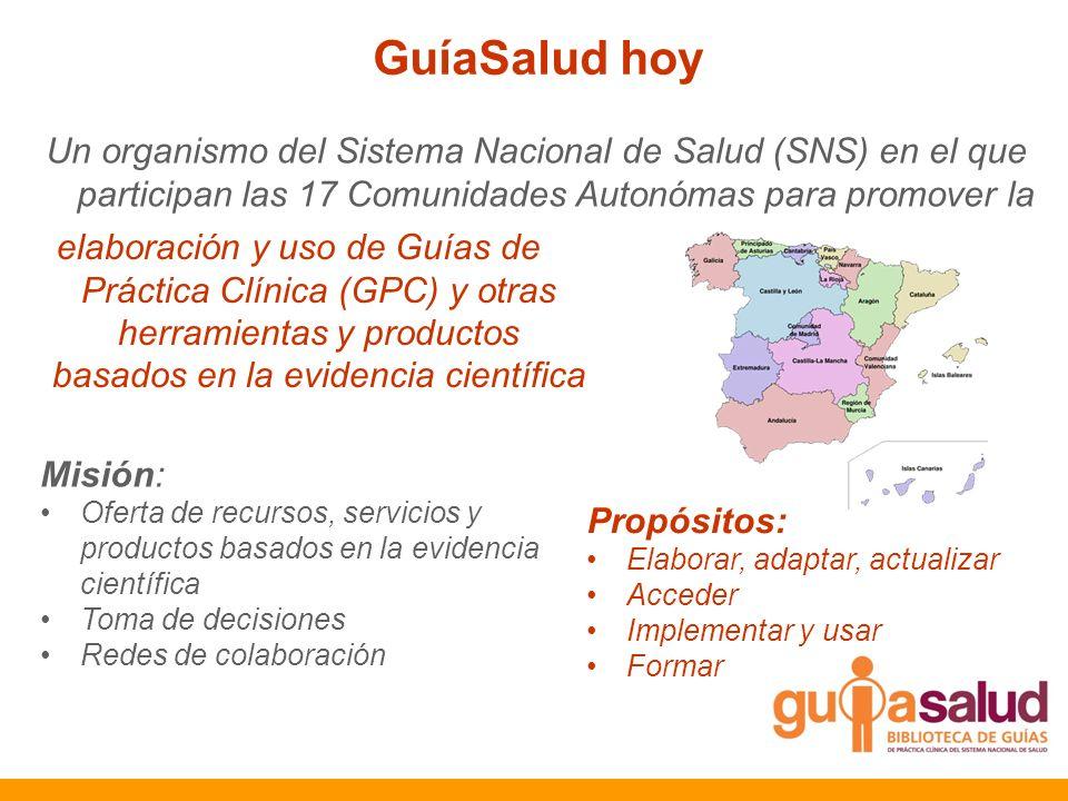 GuíaSalud hoy Un organismo del Sistema Nacional de Salud (SNS) en el que participan las 17 Comunidades Autonómas para promover la.