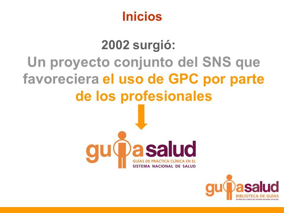 Inicios 2002 surgió: Un proyecto conjunto del SNS que favoreciera el uso de GPC por parte de los profesionales.