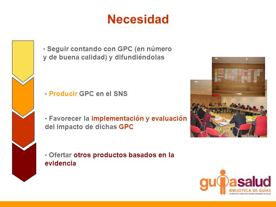 Necesidad Seguir contando con GPC (en número y de buena calidad) y difundiéndolas. Producir GPC en el SNS.