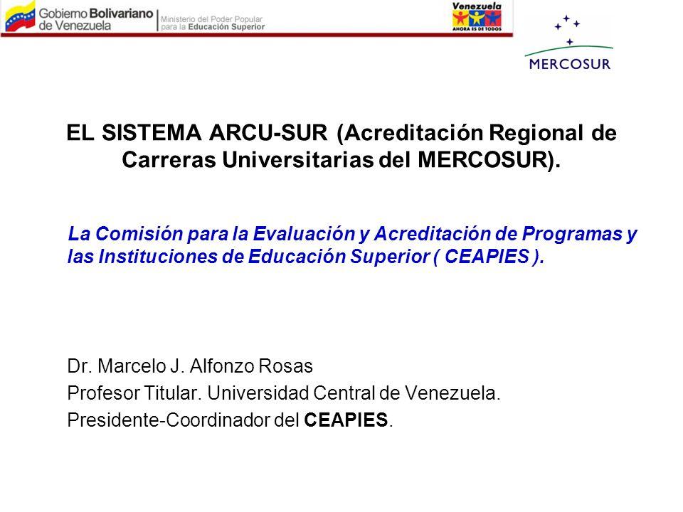 EL SISTEMA ARCU-SUR (Acreditación Regional de Carreras Universitarias del MERCOSUR).