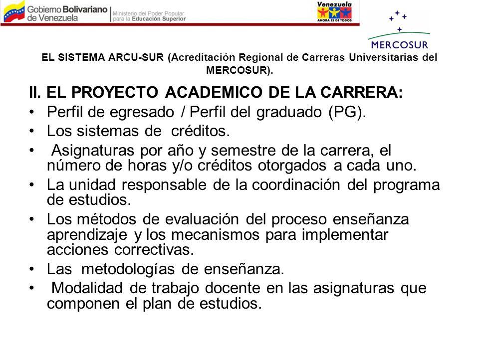 II. EL PROYECTO ACADEMICO DE LA CARRERA: