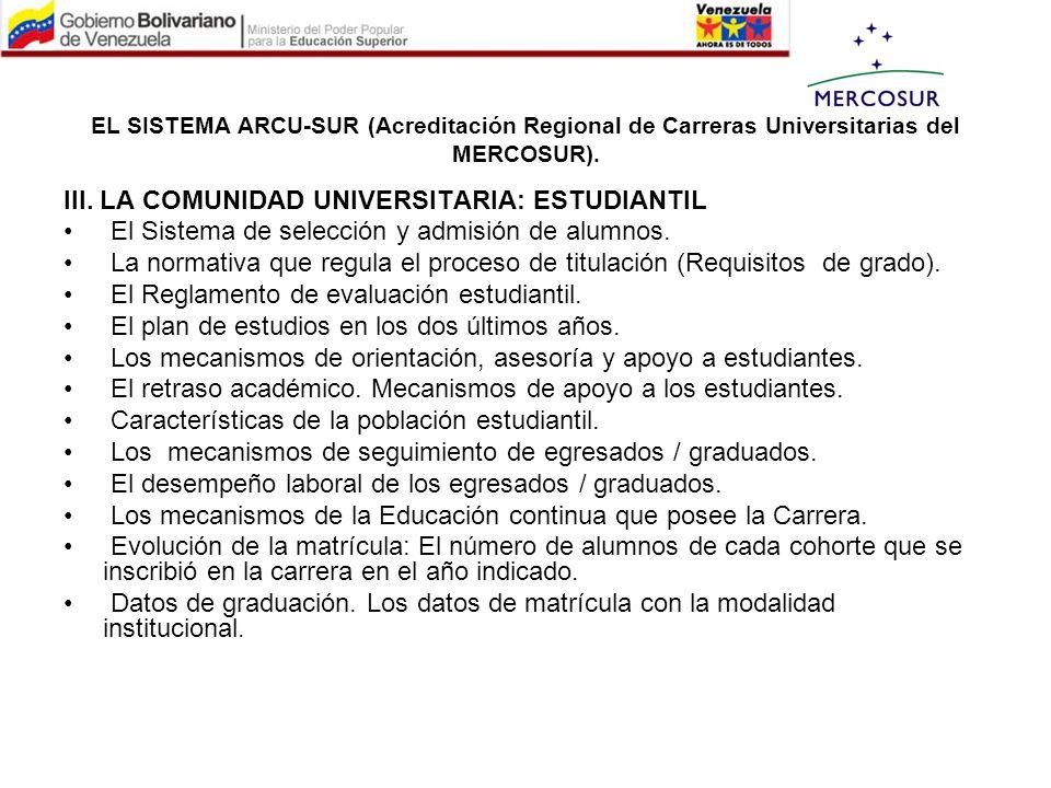 III. LA COMUNIDAD UNIVERSITARIA: ESTUDIANTIL