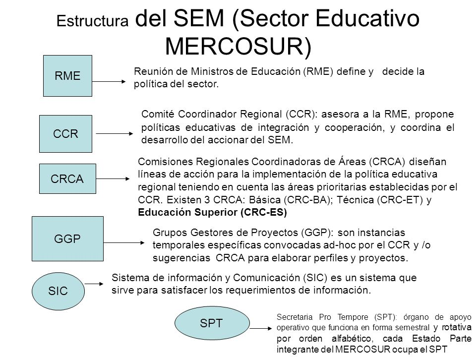 Estructura del SEM (Sector Educativo MERCOSUR)
