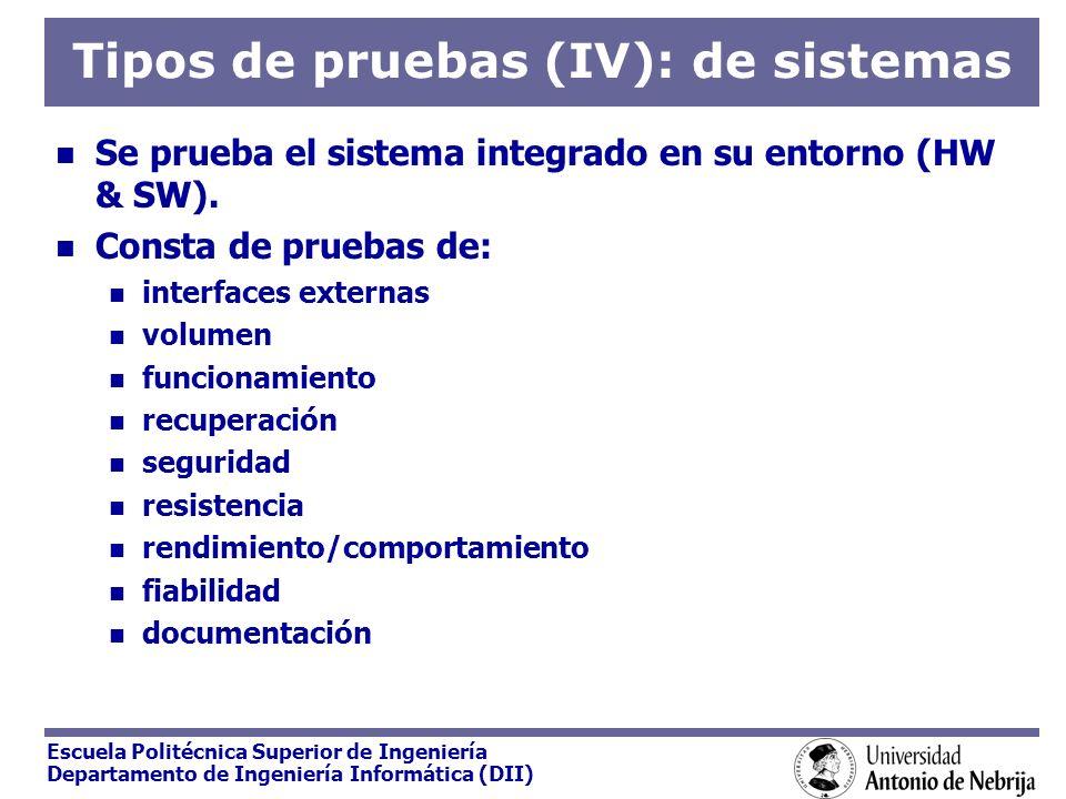 Tipos de pruebas (IV): de sistemas