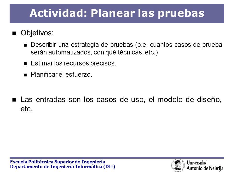 Actividad: Planear las pruebas