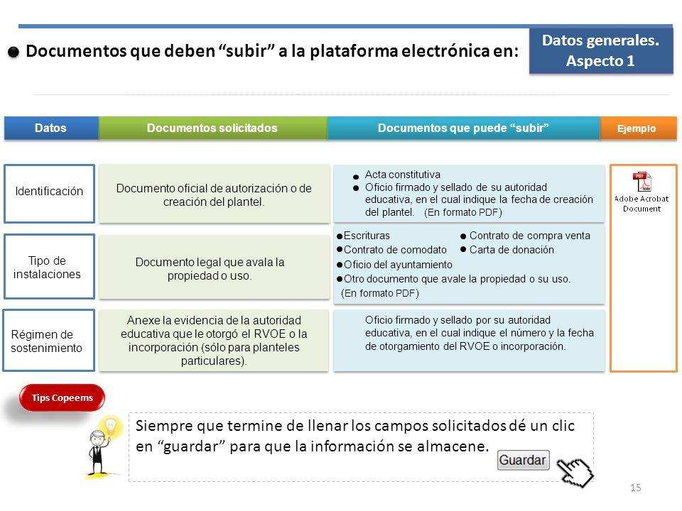Documentos que deben subir a la plataforma electrónica en: