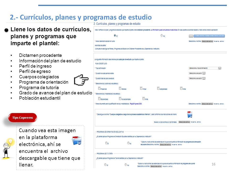 2.- Currículos, planes y programas de estudio