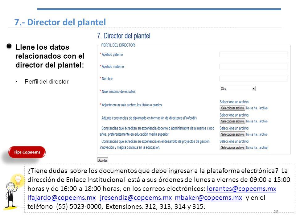 7.- Director del plantel Llene los datos relacionados con el director del plantel: Perfil del director.