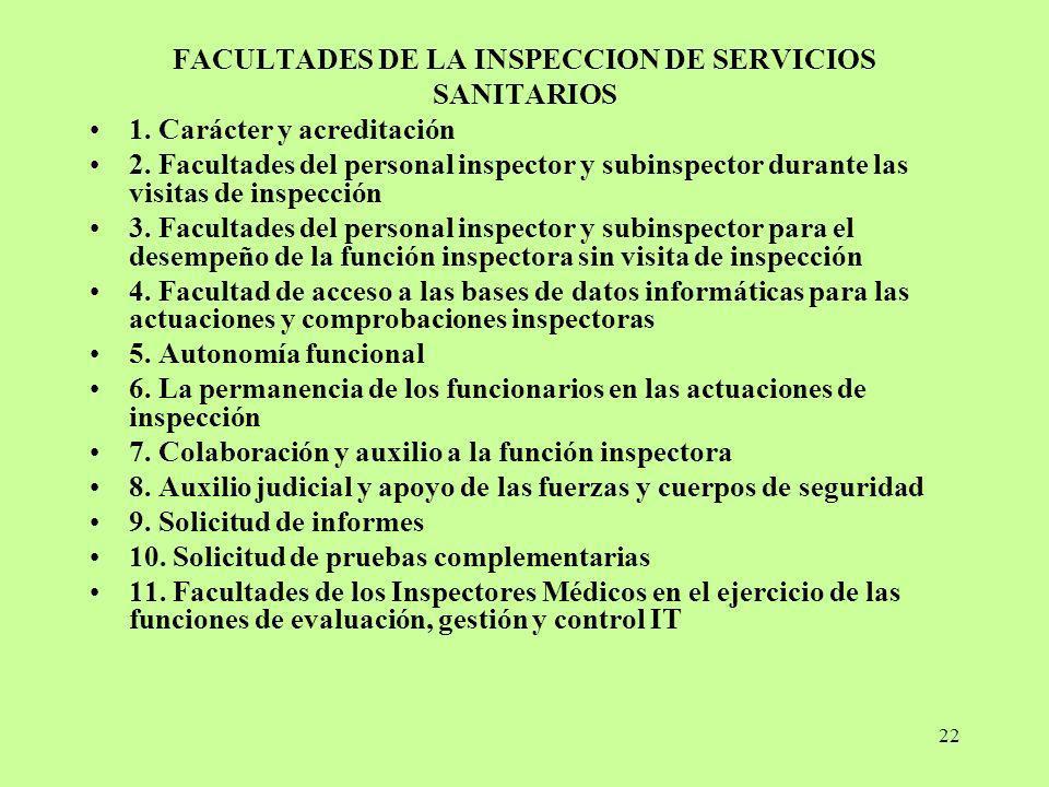FACULTADES DE LA INSPECCION DE SERVICIOS SANITARIOS