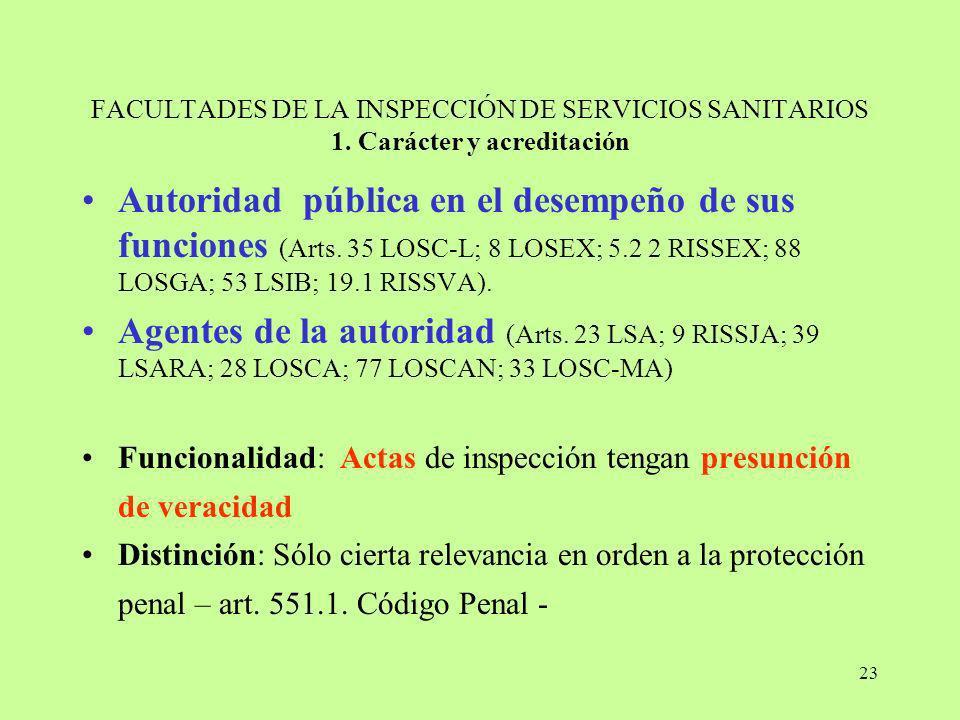 FACULTADES DE LA INSPECCIÓN DE SERVICIOS SANITARIOS 1
