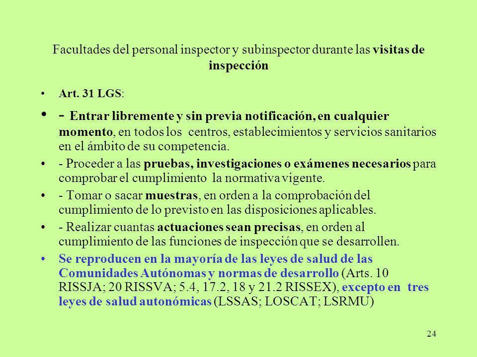 Facultades del personal inspector y subinspector durante las visitas de inspección