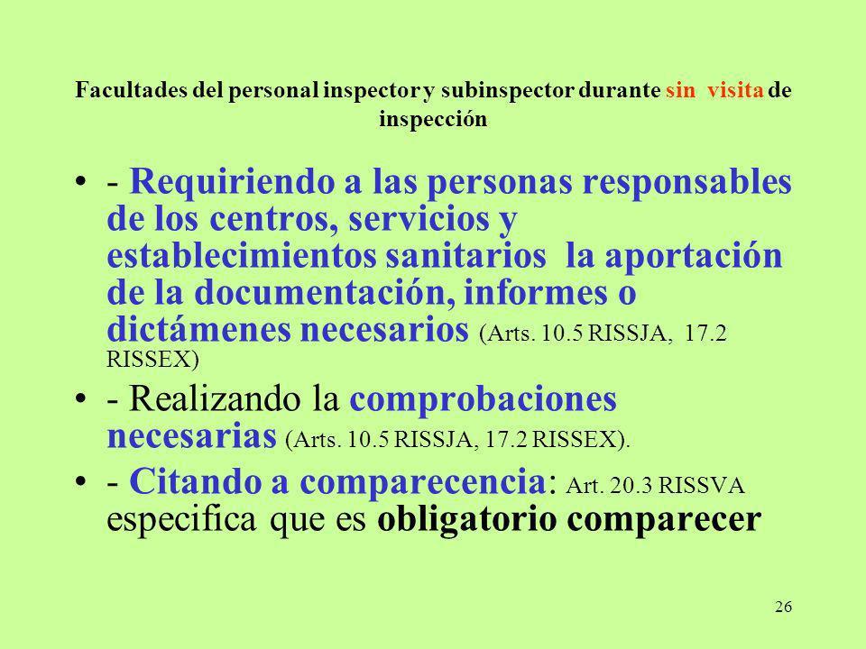Facultades del personal inspector y subinspector durante sin visita de inspección