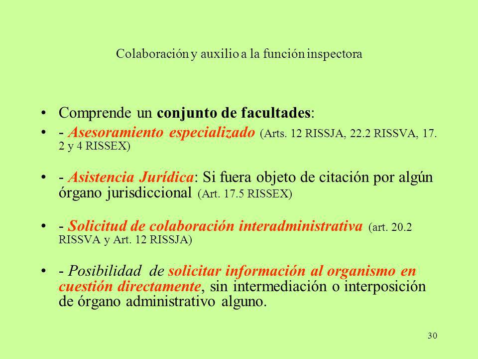 Colaboración y auxilio a la función inspectora