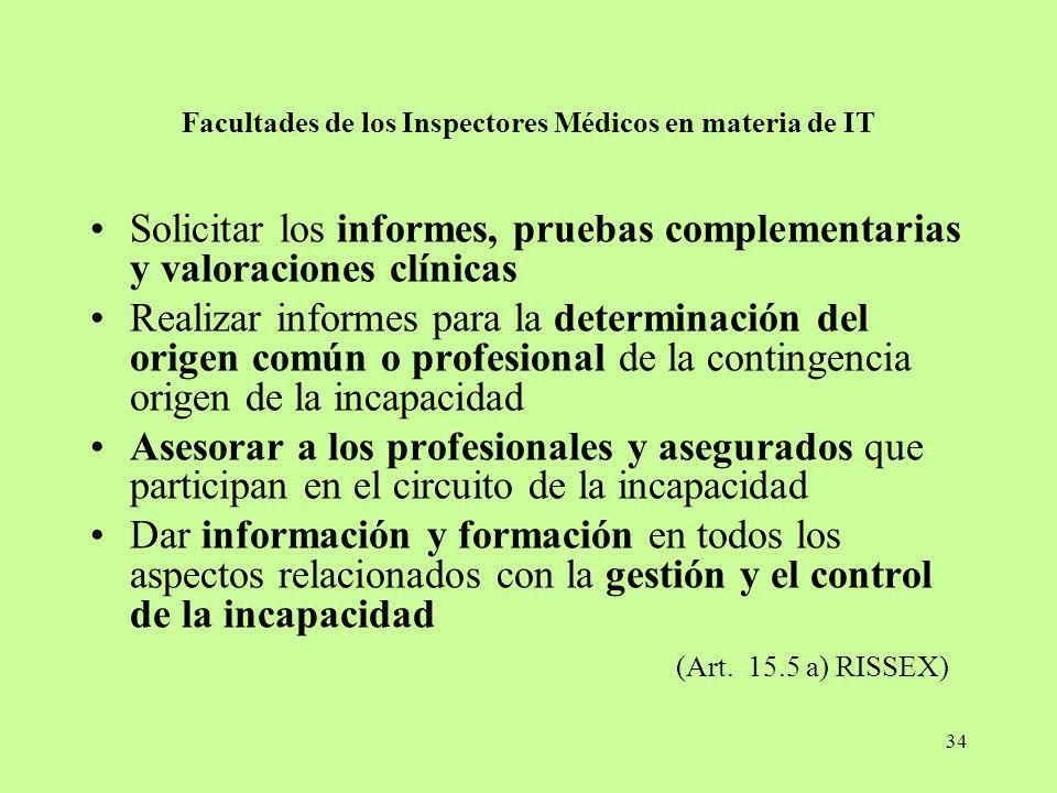 Facultades de los Inspectores Médicos en materia de IT