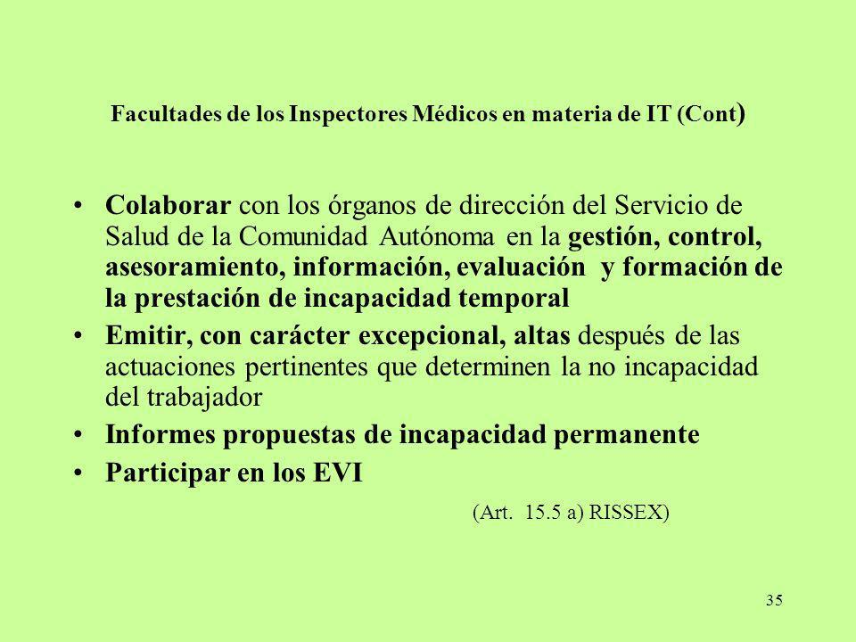 Facultades de los Inspectores Médicos en materia de IT (Cont)