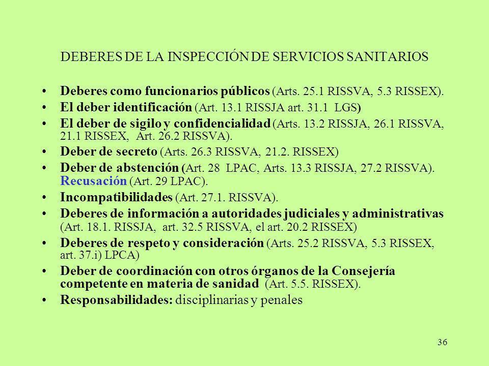 DEBERES DE LA INSPECCIÓN DE SERVICIOS SANITARIOS
