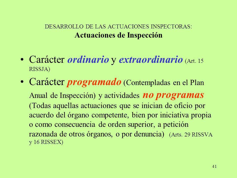 DESARROLLO DE LAS ACTUACIONES INSPECTORAS: Actuaciones de Inspección