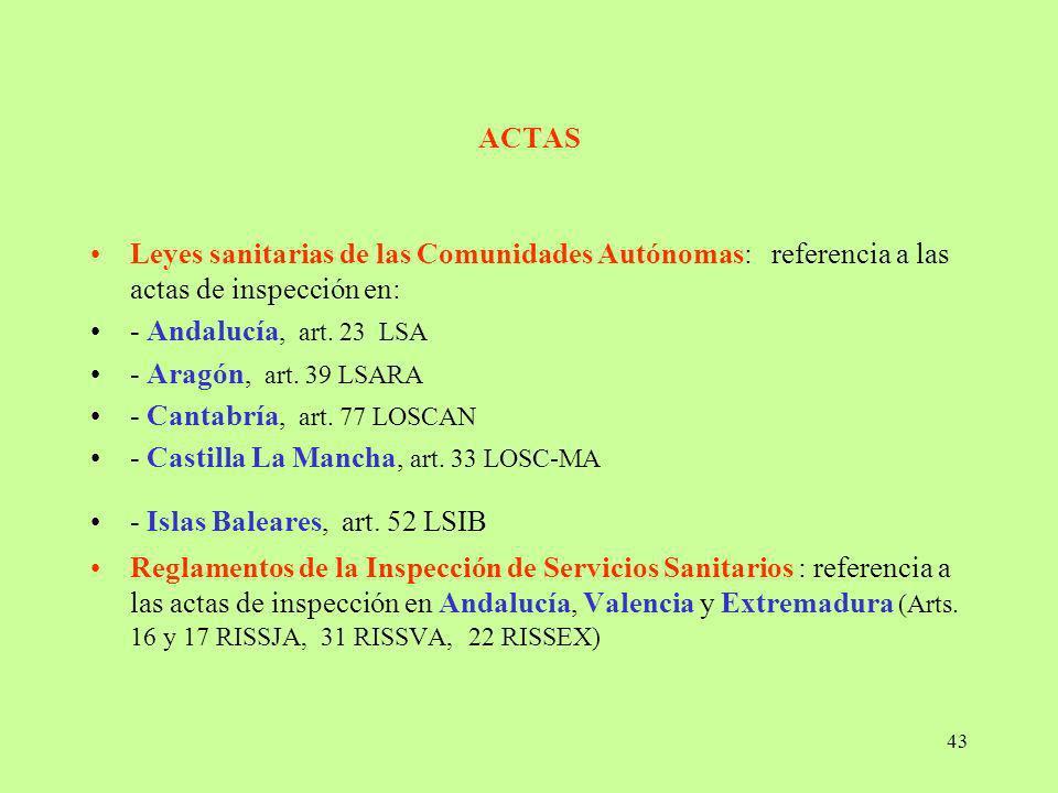 ACTAS Leyes sanitarias de las Comunidades Autónomas: referencia a las actas de inspección en: - Andalucía, art. 23 LSA.