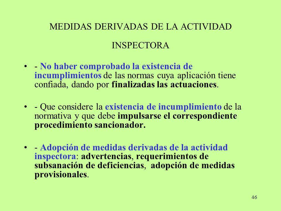 MEDIDAS DERIVADAS DE LA ACTIVIDAD INSPECTORA