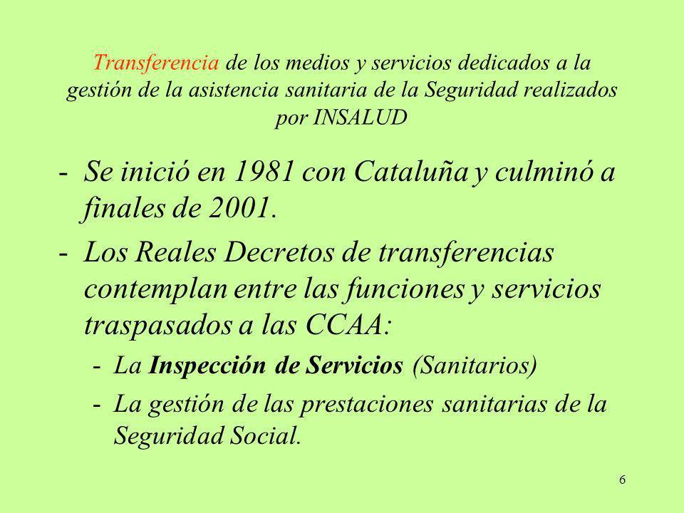 Se inició en 1981 con Cataluña y culminó a finales de 2001.
