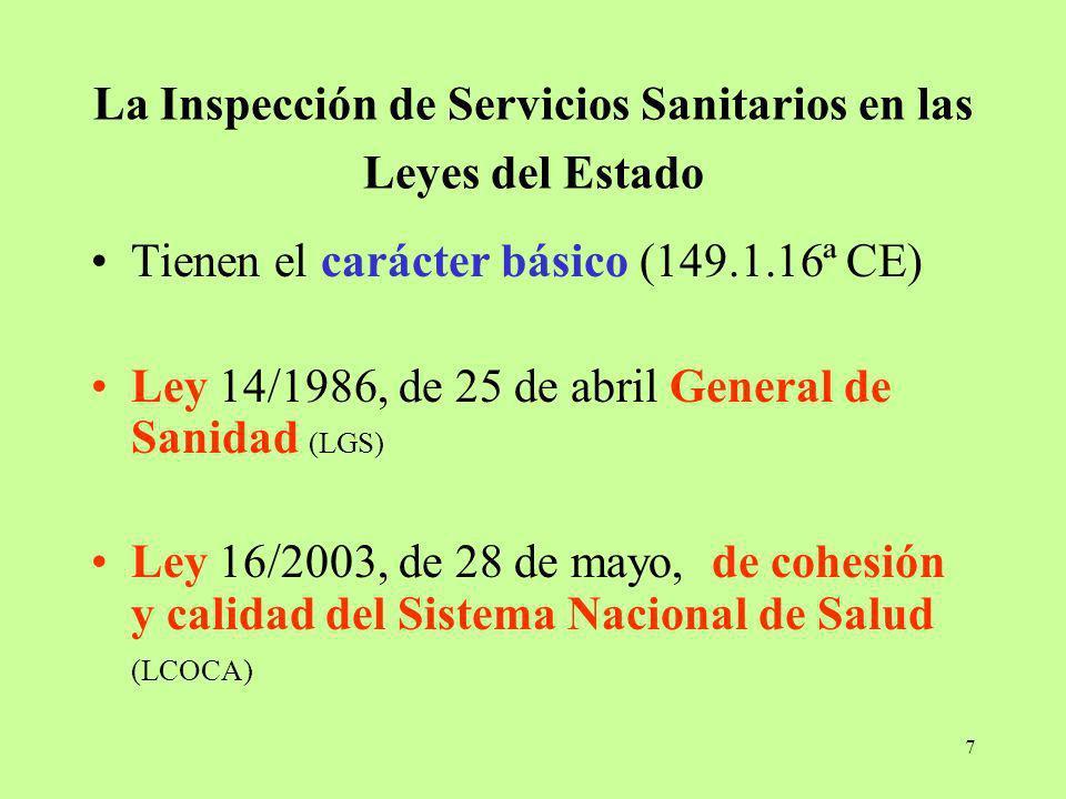 La Inspección de Servicios Sanitarios en las Leyes del Estado