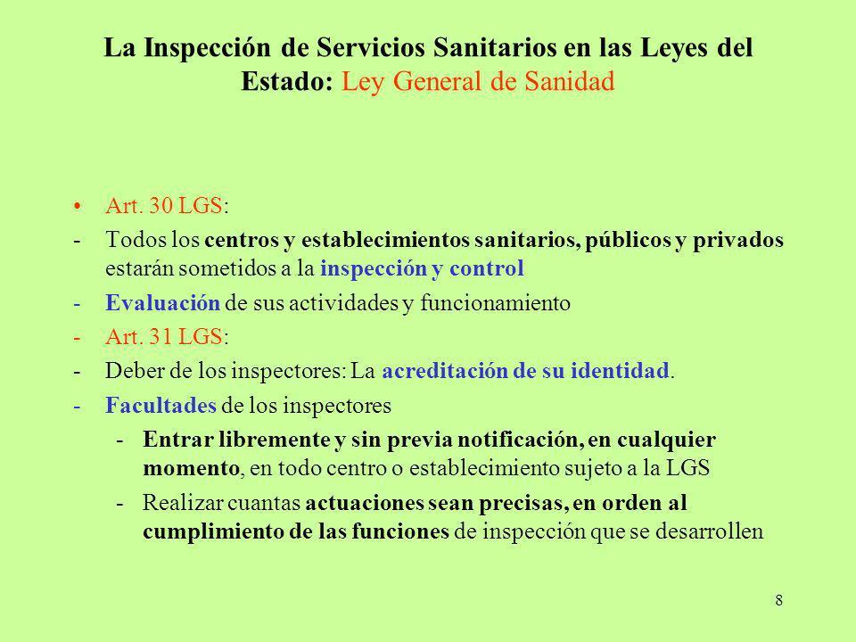 La Inspección de Servicios Sanitarios en las Leyes del Estado: Ley General de Sanidad