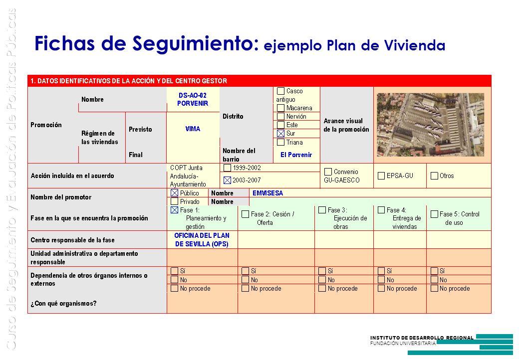 Fichas de Seguimiento: ejemplo Plan de Vivienda