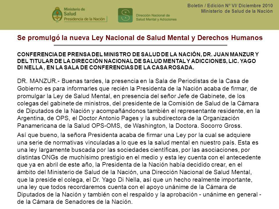 Se promulgó la nueva Ley Nacional de Salud Mental y Derechos Humanos