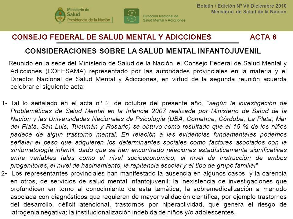 CONSEJO FEDERAL DE SALUD MENTAL Y ADICCIONES ACTA 6