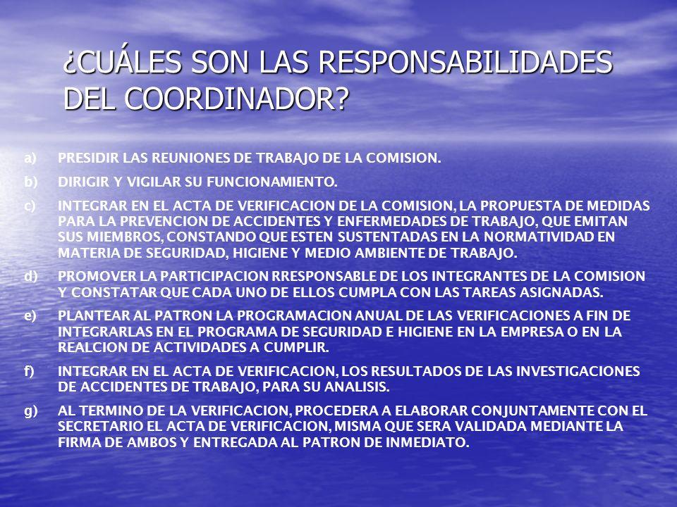 ¿CUÁLES SON LAS RESPONSABILIDADES DEL COORDINADOR