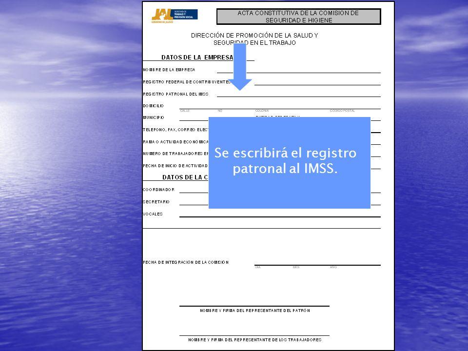 Se escribirá el registro patronal al IMSS.