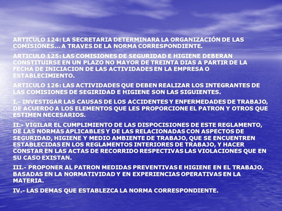 ARTICULO 124: LA SECRETARIA DETERMINARA LA ORGANIZACIÓN DE LAS COMISIONES... A TRAVES DE LA NORMA CORRESPONDIENTE.