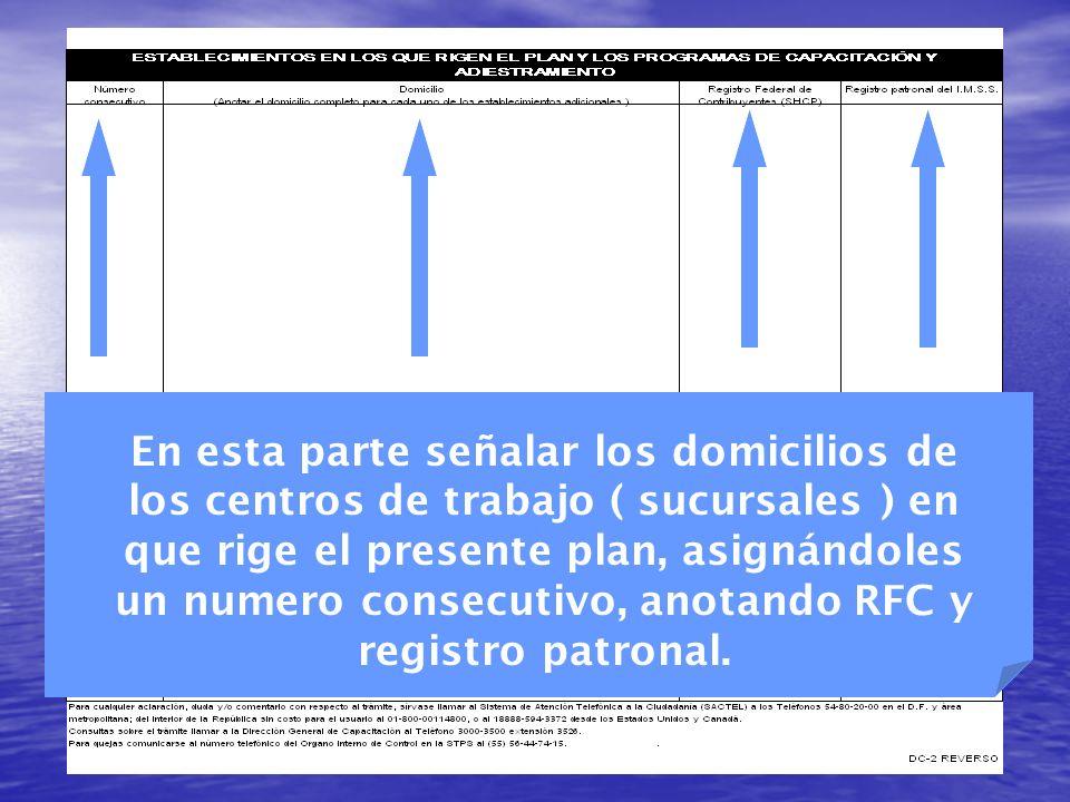 En esta parte señalar los domicilios de los centros de trabajo ( sucursales ) en que rige el presente plan, asignándoles un numero consecutivo, anotando RFC y registro patronal.
