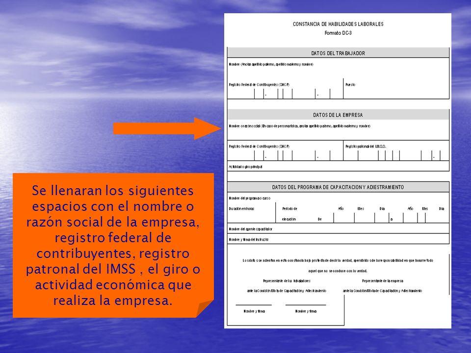 Se llenaran los siguientes espacios con el nombre o razón social de la empresa, registro federal de contribuyentes, registro patronal del IMSS , el giro o actividad económica que realiza la empresa.