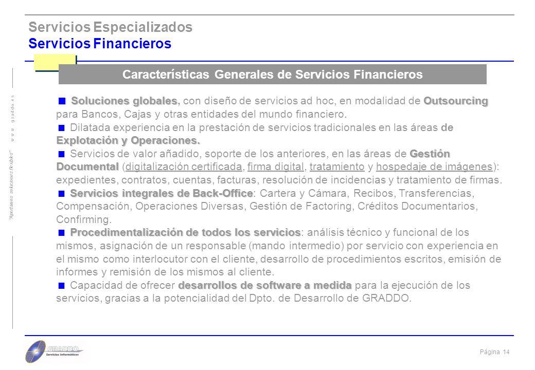 Características Generales de Servicios Financieros