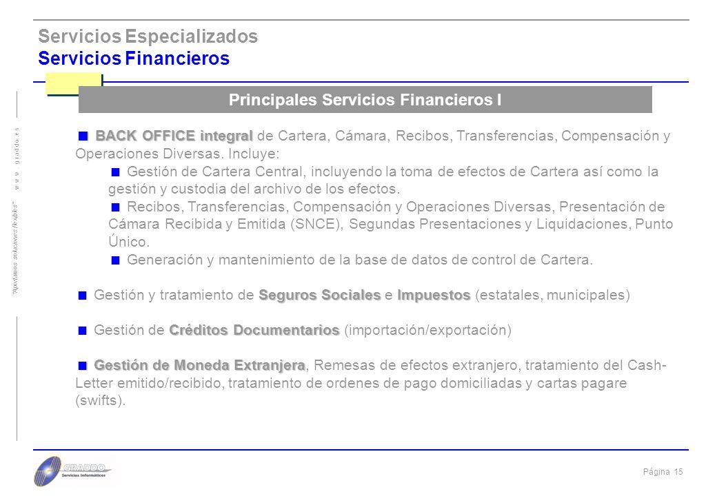 Principales Servicios Financieros I