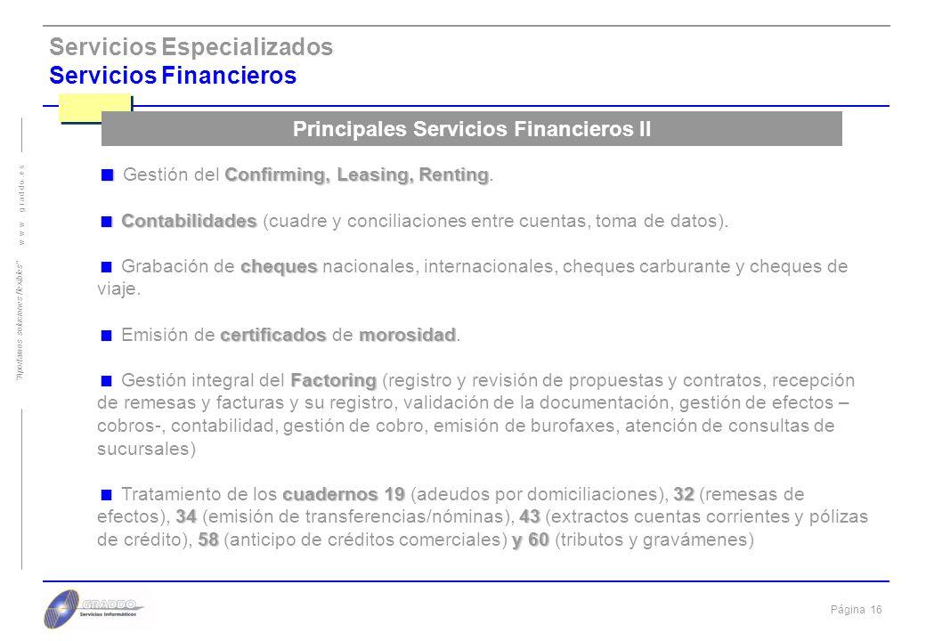 Principales Servicios Financieros II