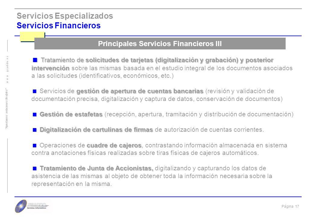 Principales Servicios Financieros III