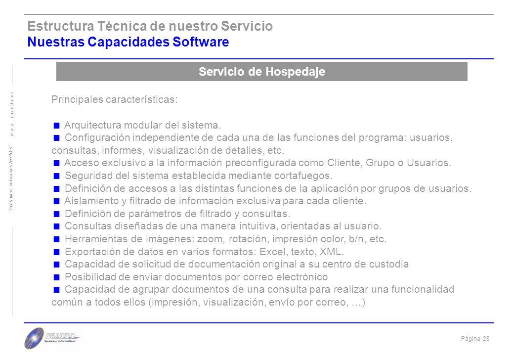 Estructura Técnica de nuestro Servicio Nuestras Capacidades Software