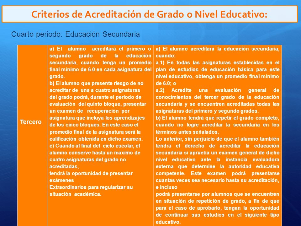 Criterios de Acreditación de Grado o Nivel Educativo:
