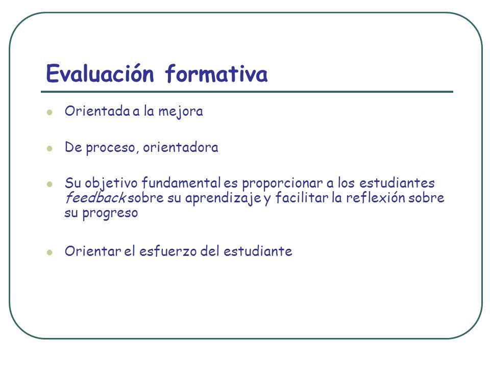 Evaluación formativa Orientada a la mejora De proceso, orientadora