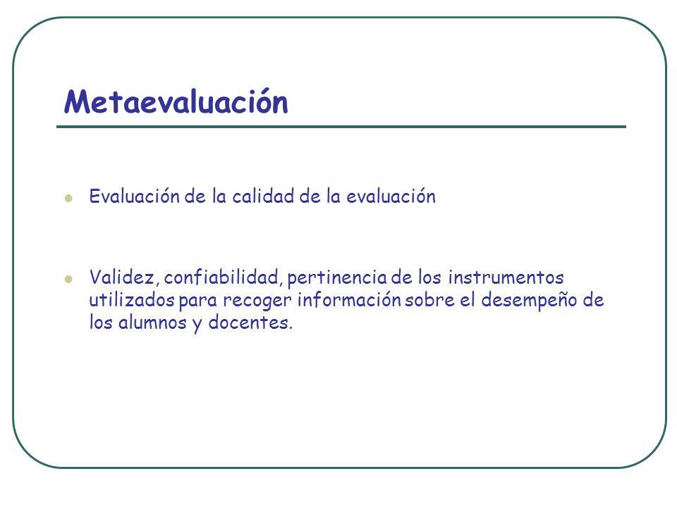 Metaevaluación Evaluación de la calidad de la evaluación