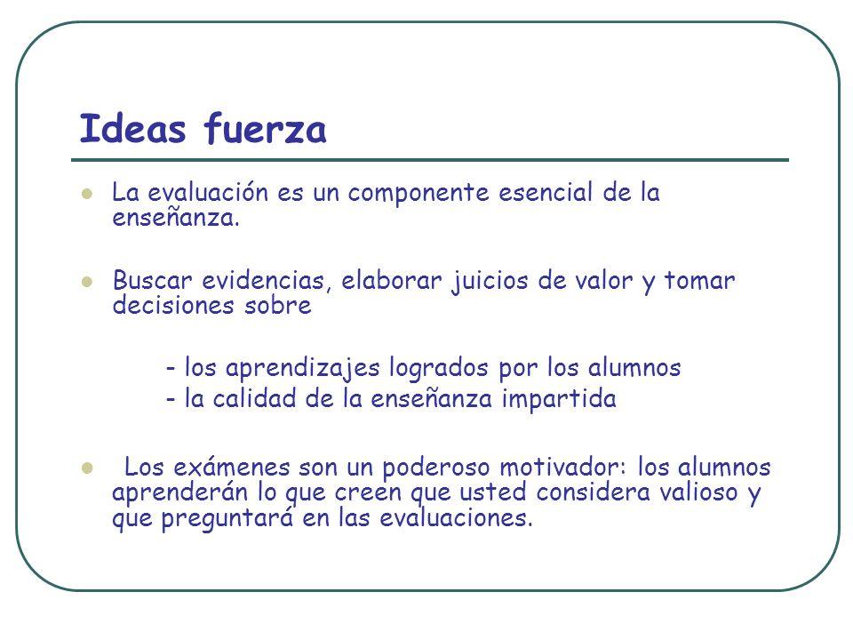 Ideas fuerza La evaluación es un componente esencial de la enseñanza. Buscar evidencias, elaborar juicios de valor y tomar decisiones sobre.
