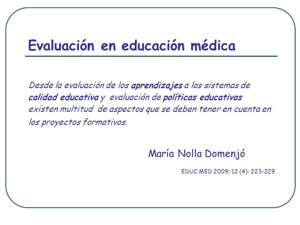 Evaluación en educación médica