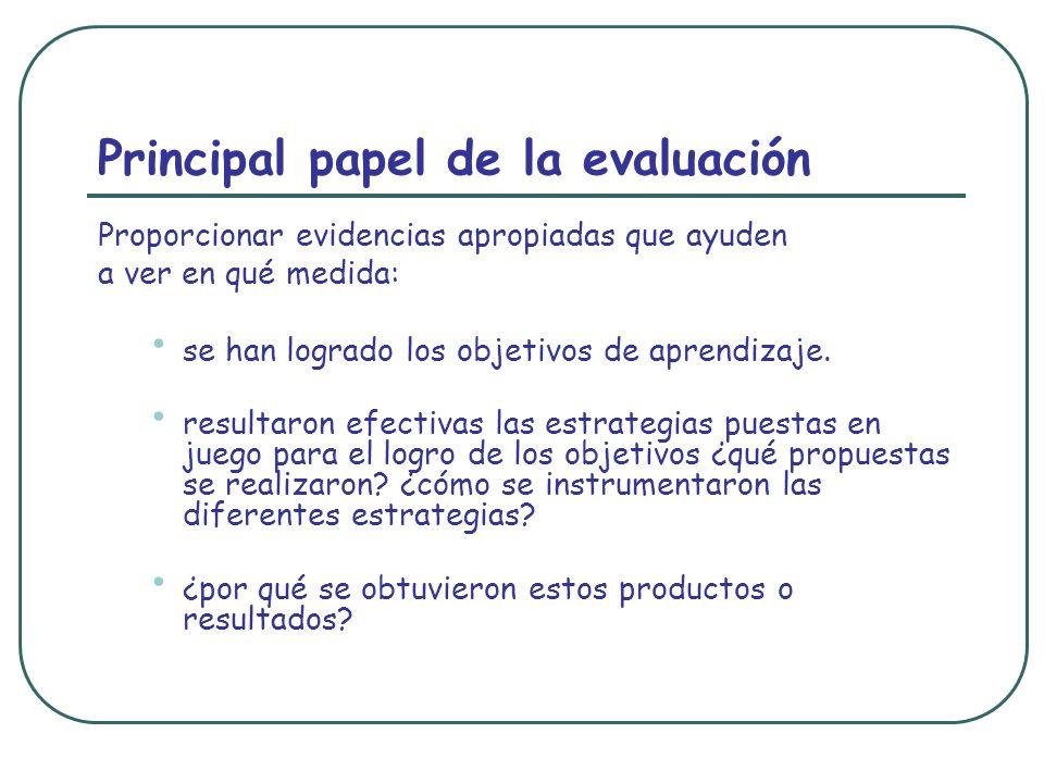 Principal papel de la evaluación